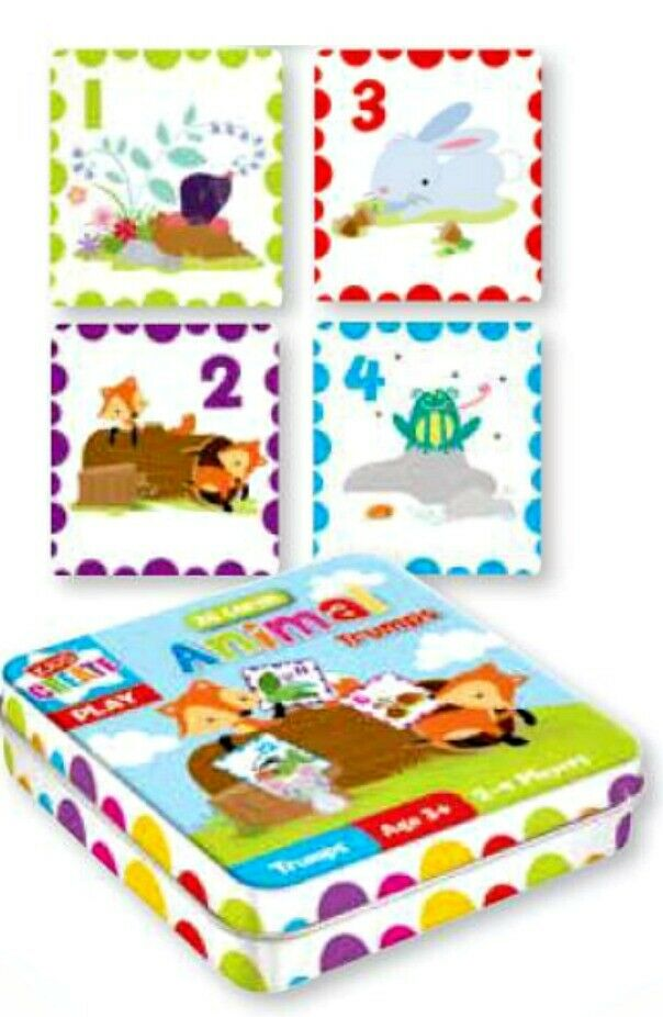 Farm Toddler Toys Age Two : Farm yard cards trump game in tin kids learn numbers