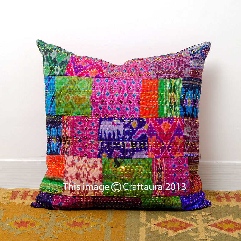 Handmade Decorative Throw Pillows : Vintage Handmade Throw Decorative Pillow Home Decor Kantha Cushion Cover 16