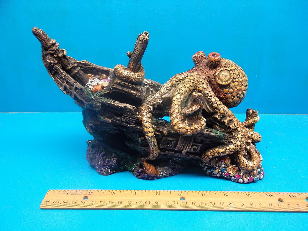 Ym0815 ship wreck w octopus heavy aquarium decoration for Aquarium decoration ship