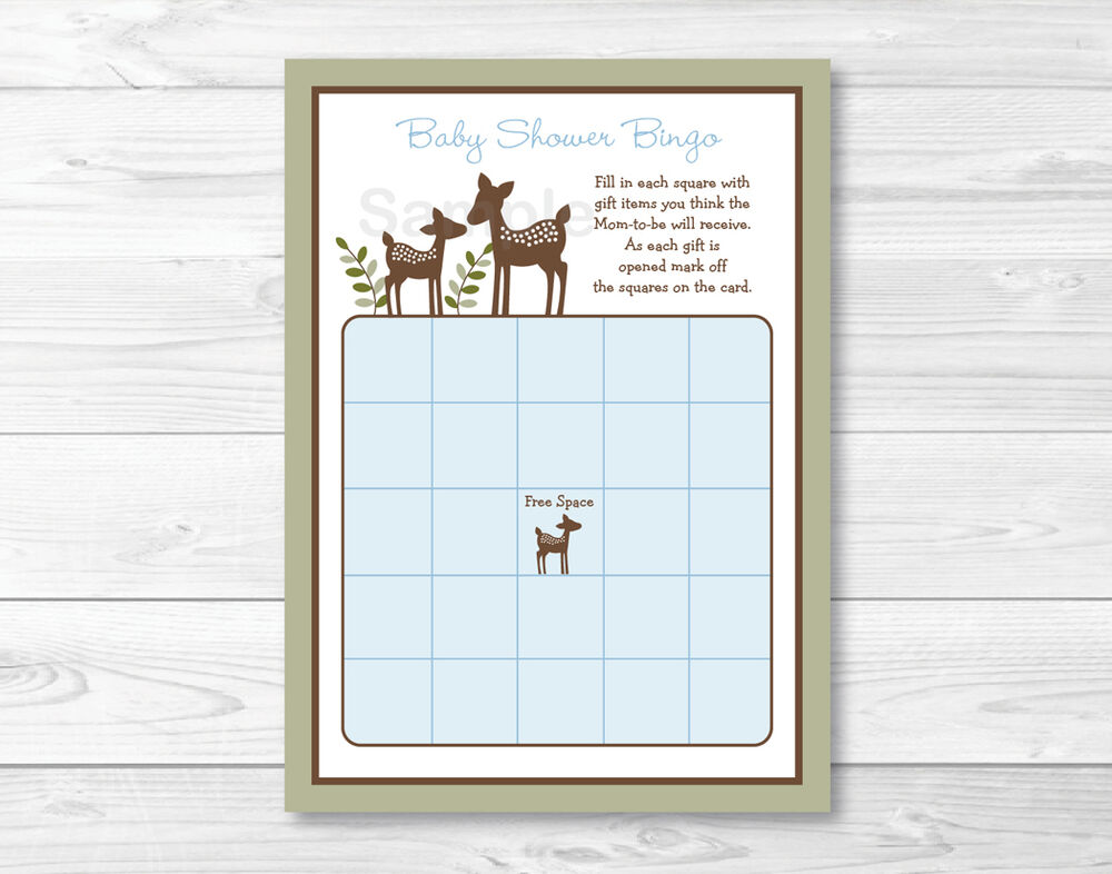 Willow Deer Blue Printable Baby Shower Bingo Cards | eBay