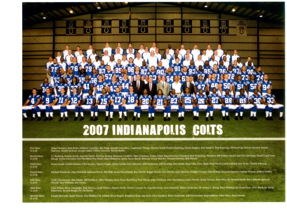 2007 Indianapolis Colts 8x10 Team Photo Manning Nfl