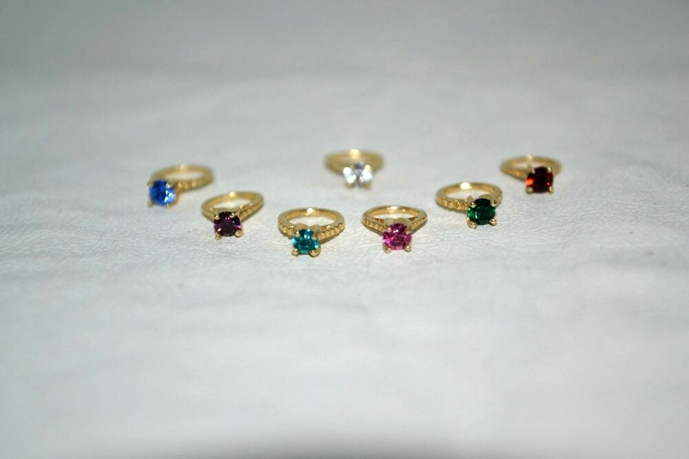 New 14k Yellow Gold Small Birthstone Ring Charm For