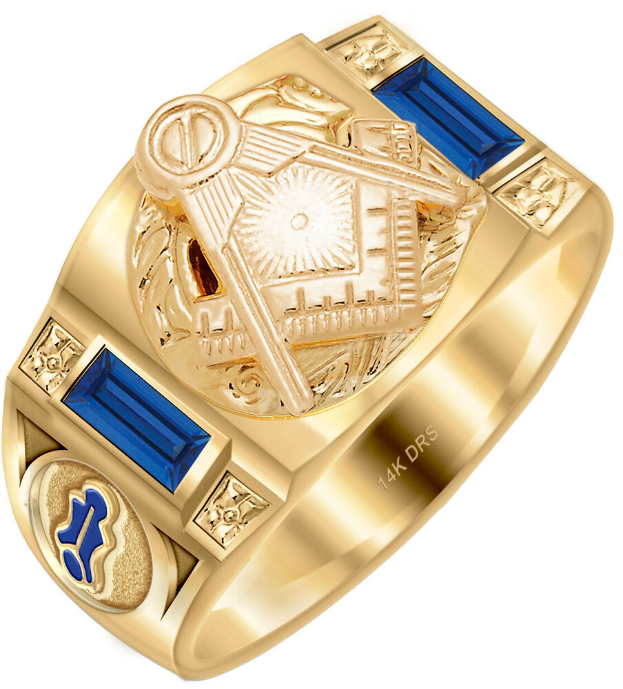 10k or 14k white or yellow gold customizable masonic blue