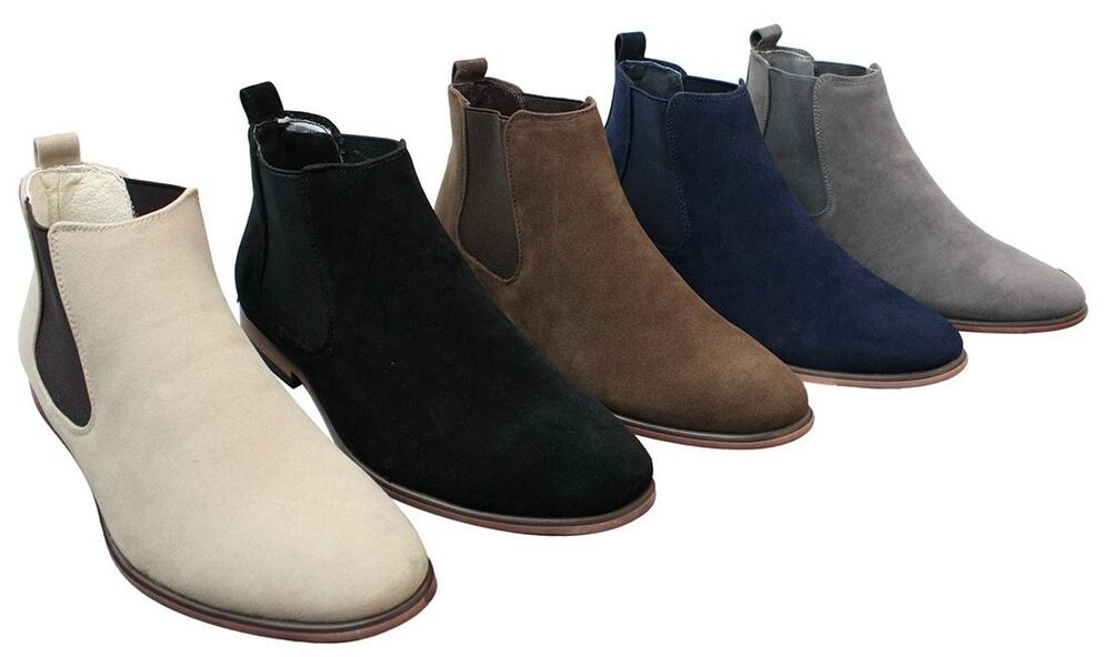 Mens Italian Suede Slip On Ankle Boots Smart Casual Desert Chelsea ...