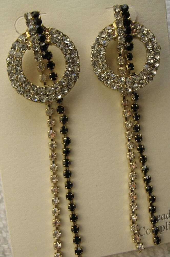 circle drop earrings new gold dangle rhinestone costume