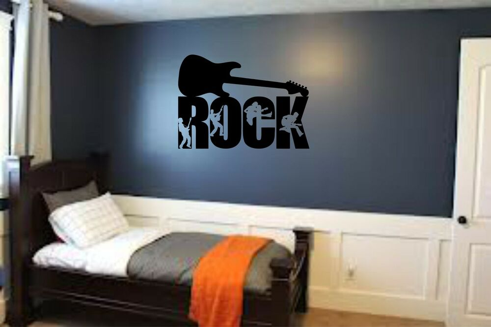 Rock guitar musician teen kids boys room wall art home for Boys wall mural