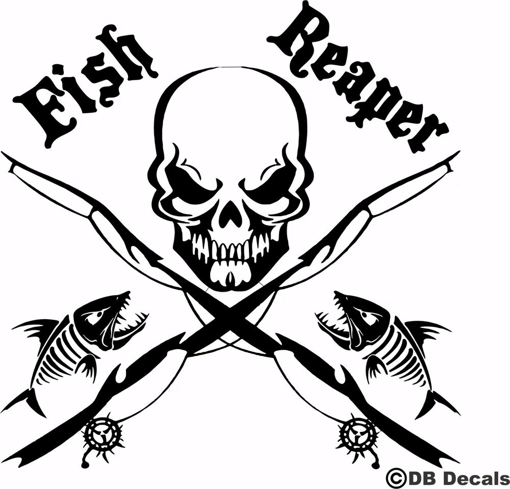 Fish reaper skull fishing rod car boat water truck window for Fishing vinyl decals