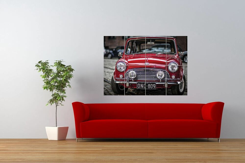 PHOTO TRANSPORT VINTAGE MINI COOPER RED CLASSIC CAR GIANT