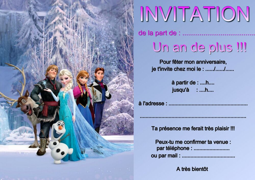 5 ou 12 cartes invitation anniversaire reine des neiges r f 03 ebay. Black Bedroom Furniture Sets. Home Design Ideas