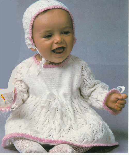 Knitting Pattern-Baby Girl vintage dress and Bonnet in 4 ...