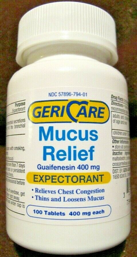Guaifenesin expectorant 400mg tablets 100ct compare to active ingredient mucinex ebay - Muur relief ...