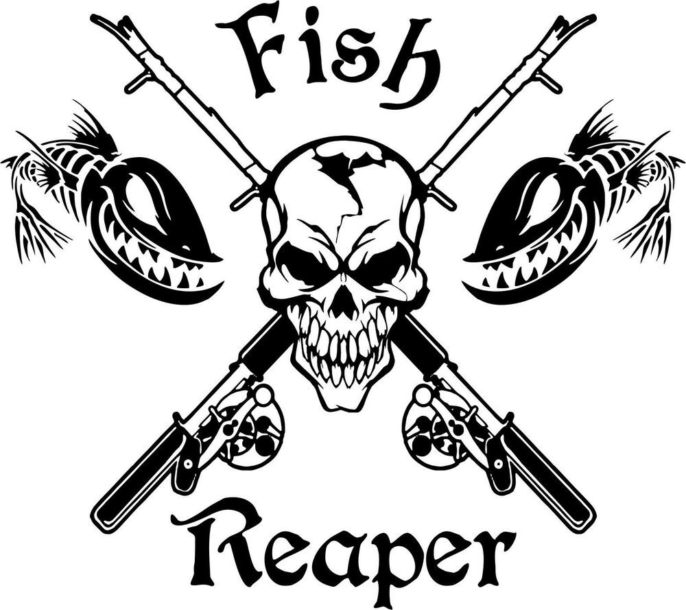 Fish reaper skull fishing rod reel car boat truck window for Fishing stickers and decals