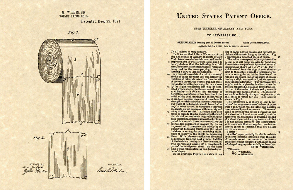 First Toilet Paper Roll US Patent Art Print READY TO FRAME