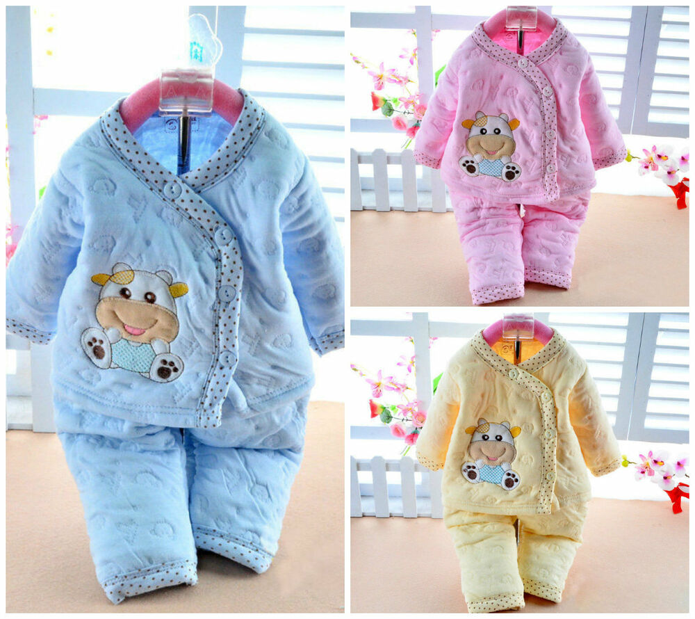 cotton warm 2 pcs newborn baby clothes girls boys winter outfits sets ebay. Black Bedroom Furniture Sets. Home Design Ideas