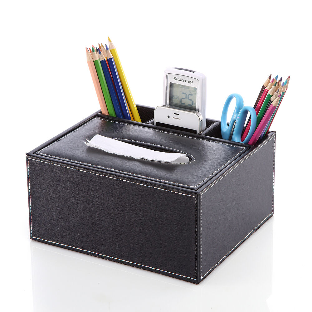 Classic faux leather wooden multifunction desk organizer - Faux leather desk organizer ...