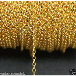 32ft spool of Gold Plated Round Cable Chain 1.2mm x 1.5mm