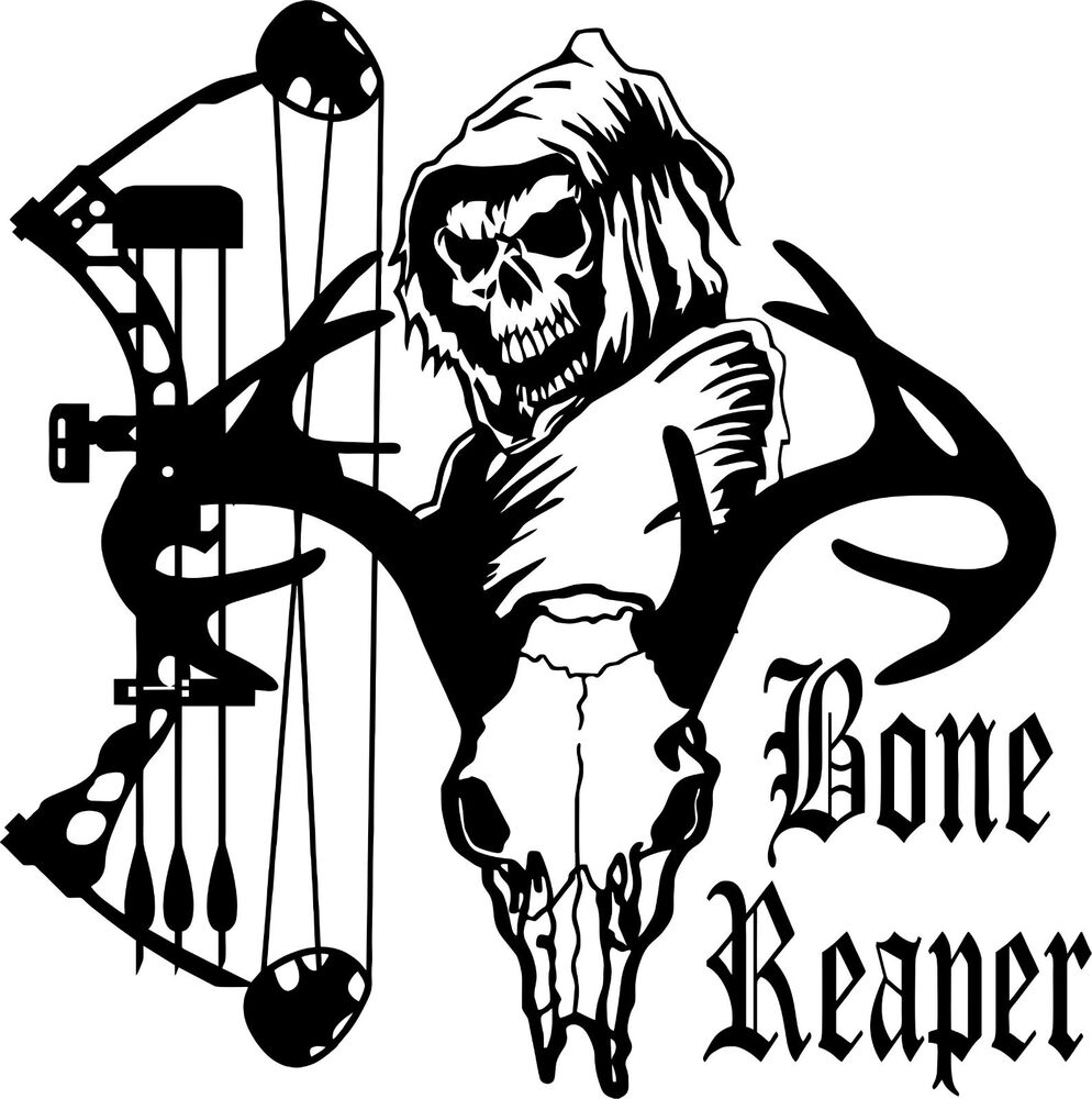 Grim Reaper Bow Arrow Hunter Deer Skull Car Truck Window
