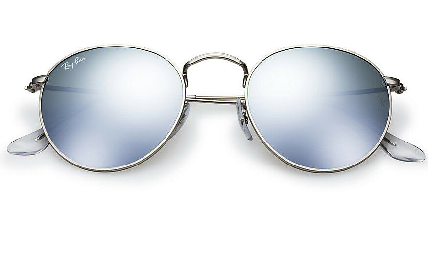 ray ban round sale  NEW Original RAY-BAN Silver FLASH LENS Round Metal Sunglasses RB ...