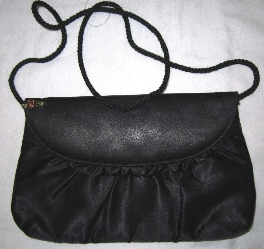 VTG 70 Black Satin Classic Evening Ruffle Trim Envelope Clutch Bag Purse Handbag | EBay