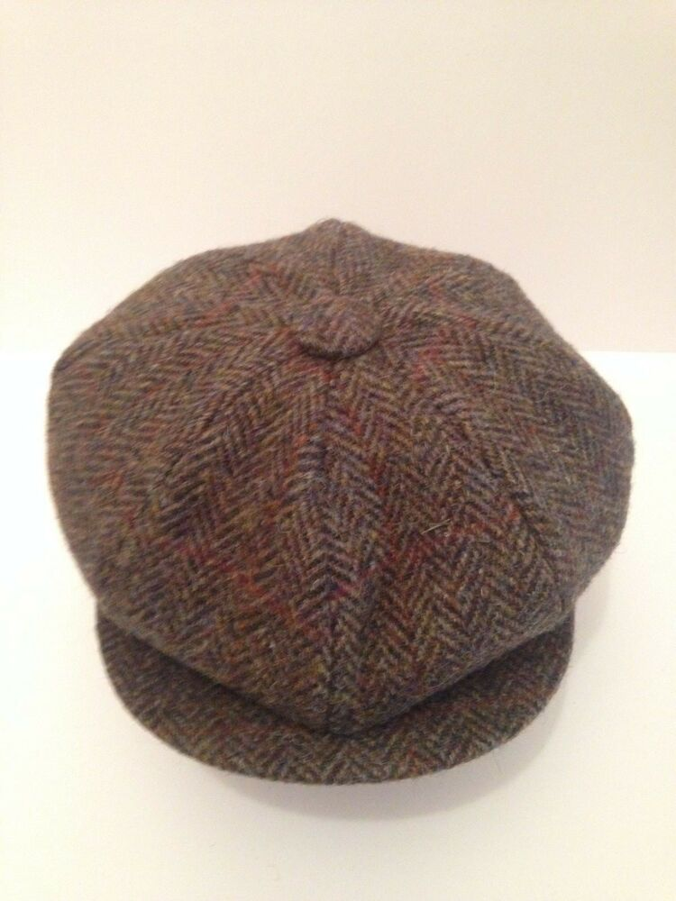 Herringbone Harris Tweed Hat 100 Wool Newsboy Victorian