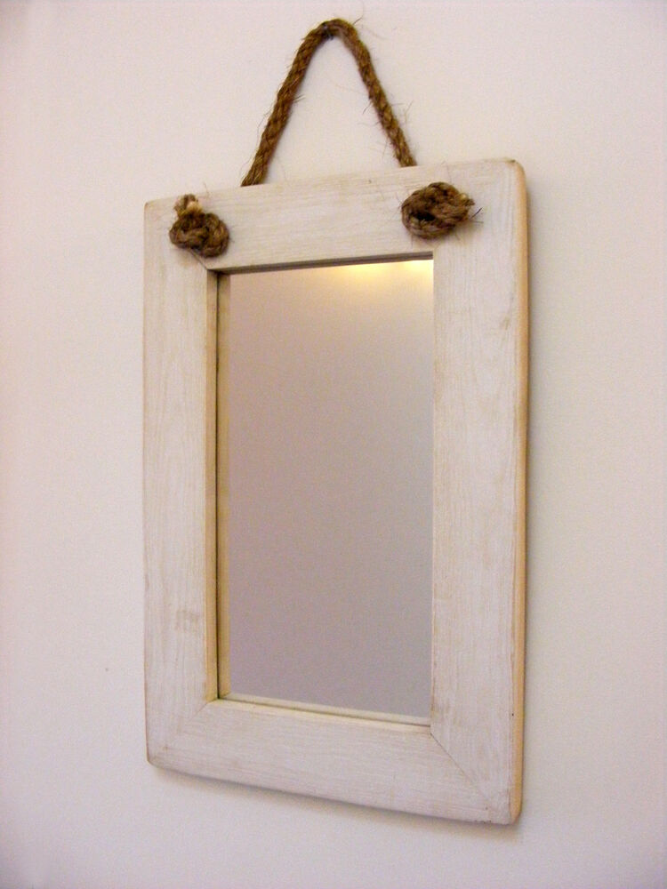 Wall hanging rope mirror rustic solid wooden mirror for Hanging mirror