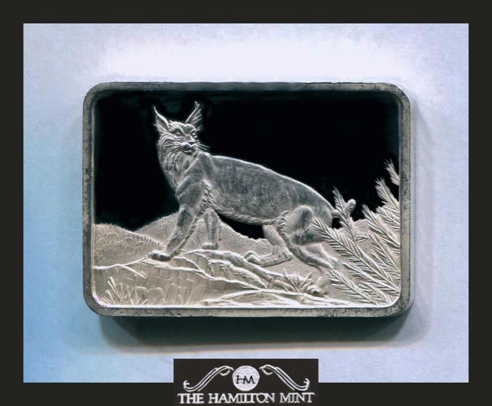 Hamilton Mint 1 Oz 999 Rare Silver Art Bar Wildcat