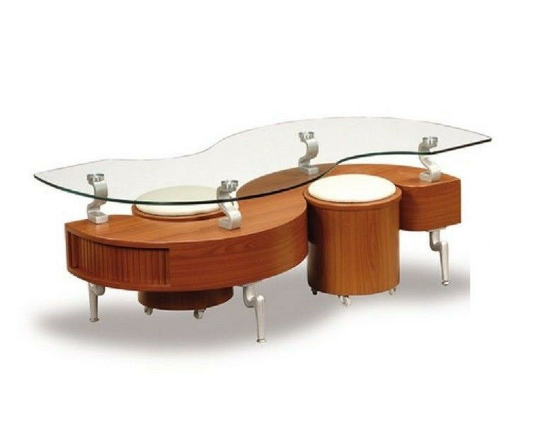 Glass Top Contemporary Cherry Color Storage Coffee Table And Ottomans