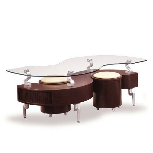 Glass Top Storage Coffee Table And Ottomans In Mahogany Color EBay