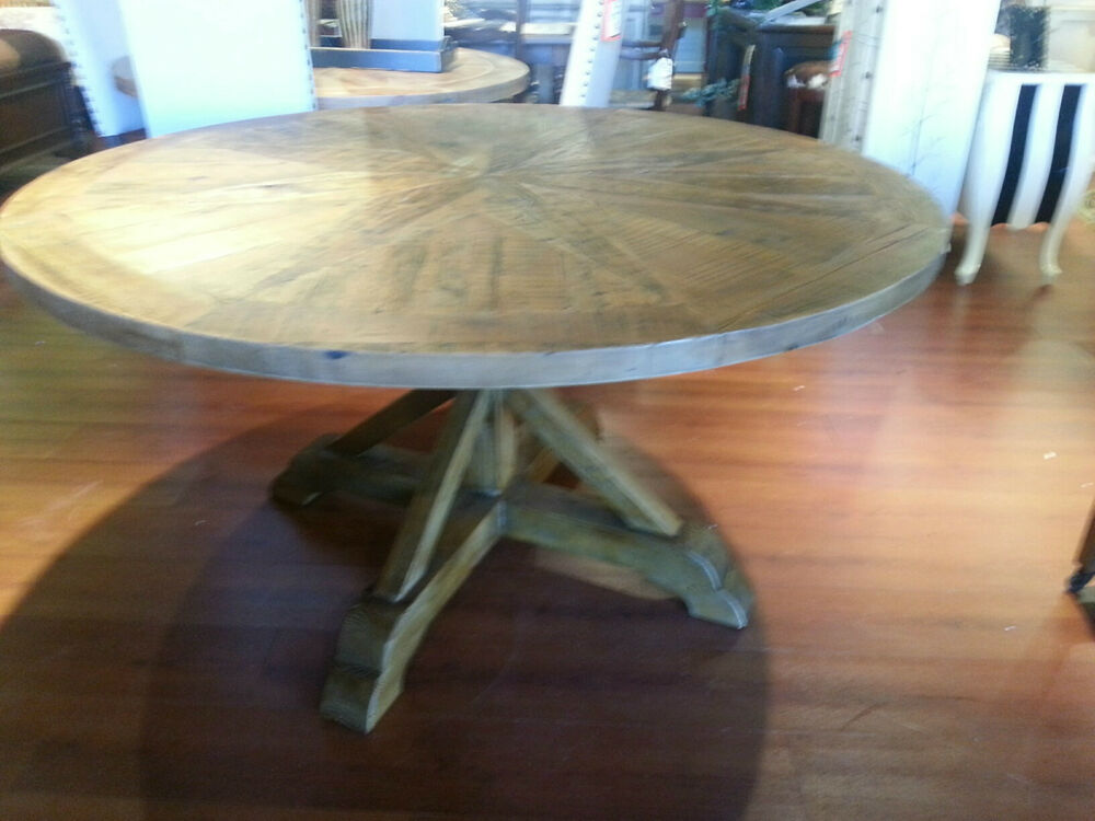 damaged opio pine reclaimed restoration wood round dining table 59 ebay. Black Bedroom Furniture Sets. Home Design Ideas