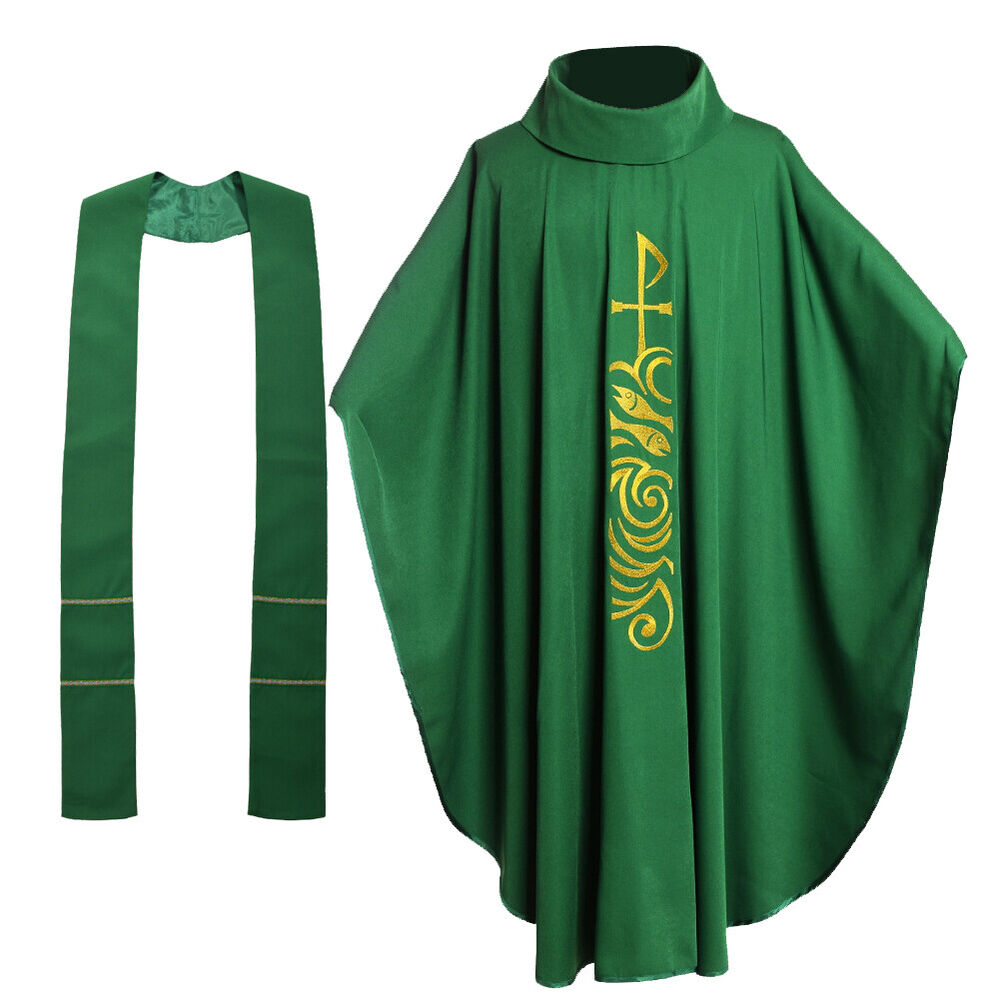 Green Catholic Church Priest Chasuble Vestments Roll ...