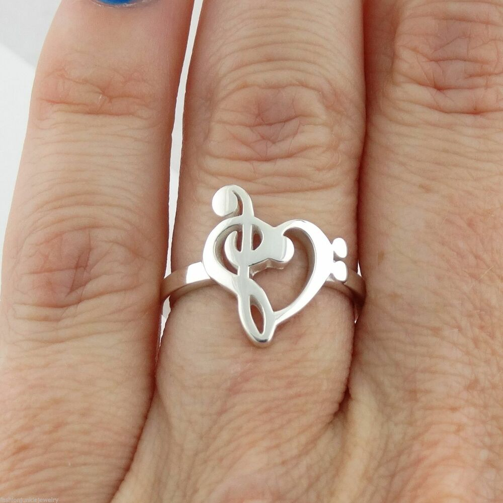 Treble And Bass Clef Heart Ring
