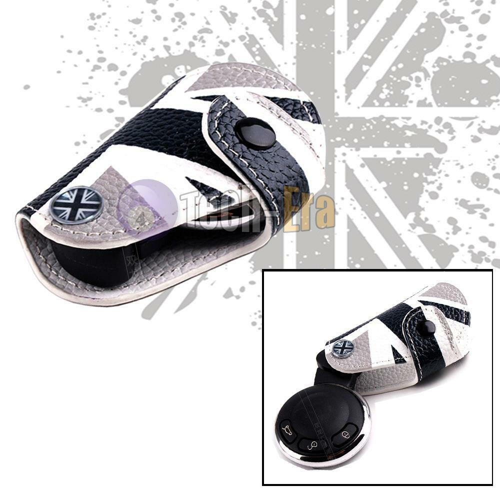uk flag leather key fob holder cover for 2007 2013 mini cooper s r55 r61 clubman ebay. Black Bedroom Furniture Sets. Home Design Ideas