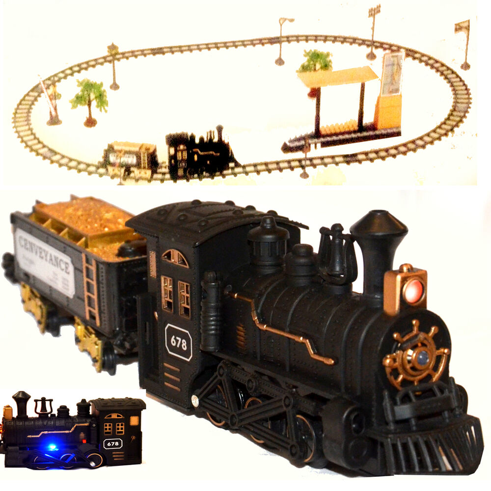 classic train set railway toy carriage real steam smoke horn sound lights ebay. Black Bedroom Furniture Sets. Home Design Ideas