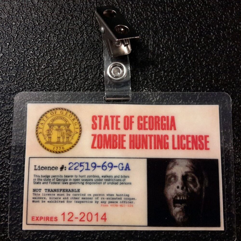 The walking dead id badge state of georgia zombie hunting for Colorado fishing license fees