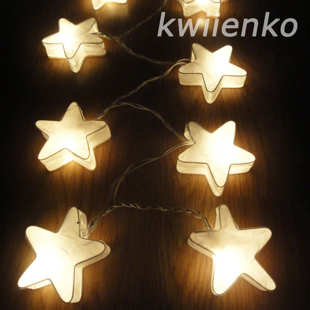 20 white star lantern fairy string lights wedding living. Black Bedroom Furniture Sets. Home Design Ideas