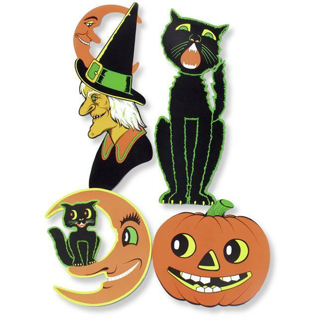 4 large retro halloween diecuts vintage party decorations Vintage halloween decorations uk