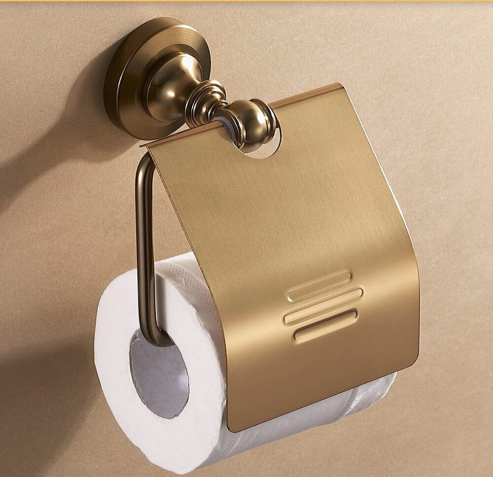 Luxury Gold Metal Brass Style Toilet Paper Holder Cover