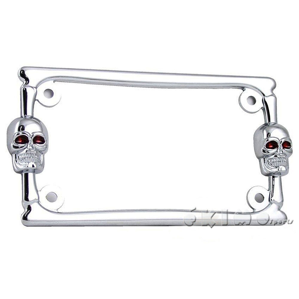 3d skull bone chrome metal motorcycle license plate frame