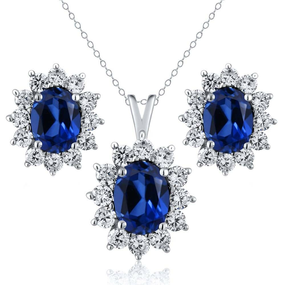 sapphire necklace and earrings set 5 24 ct oval simulated sapphire 925 sterling silver 6845