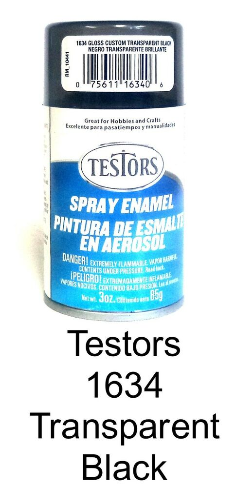 Testors 1634 Gloss Transparent Black 3 Oz Enamel Spray Can