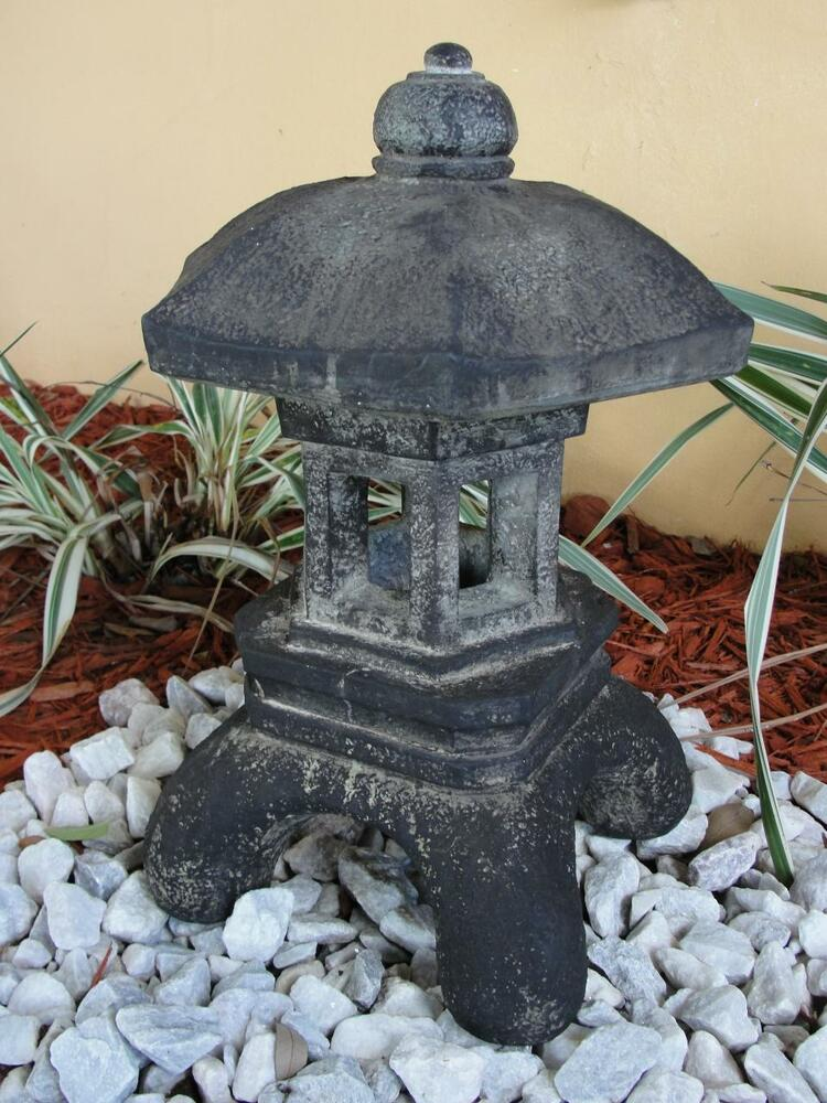 Pagoda oriental stone concrete lantern japanese antique for Lawn ornaments for sale