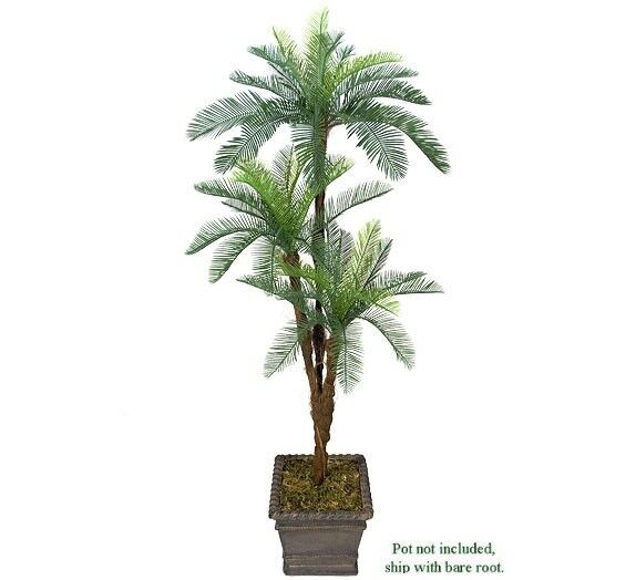one 6 39 cycas artificial palm tree tripled heads plant plastic fronds with no pot ebay. Black Bedroom Furniture Sets. Home Design Ideas