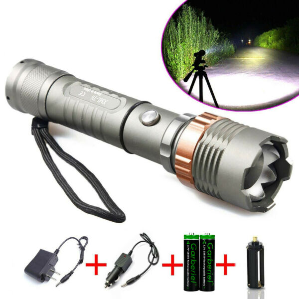Ultrafire Police 100000LM Tactical T6 Zoomable LED Flashlight +Battery + Charger