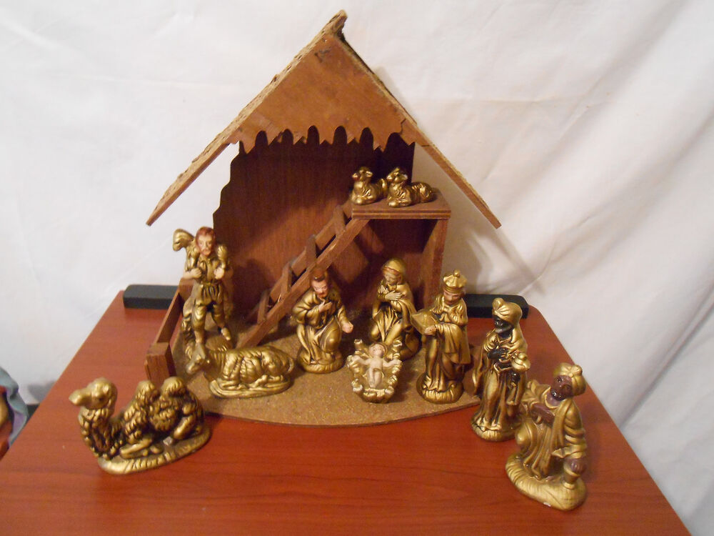 Nativity set handmade gold wash ceramic 12 pieces with wooden creche