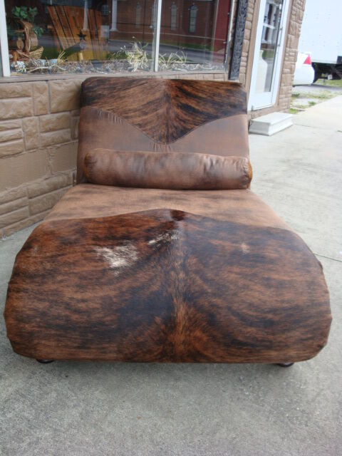 Double fabric brindle cowhide western chaise lounge ebay for Chaise western