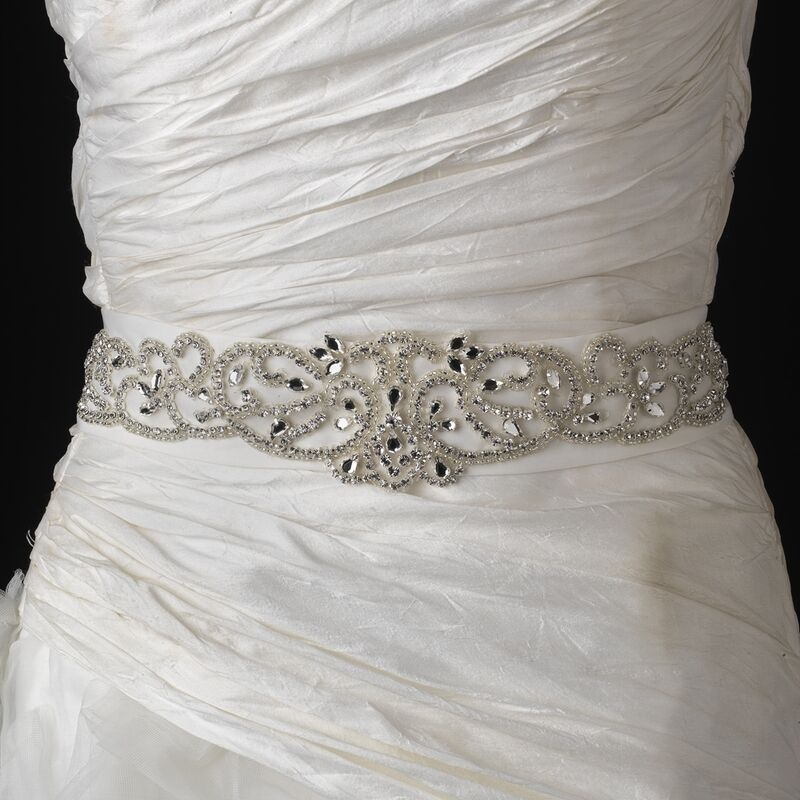 Ivory Wedding Dress Sash Of Ivory Rhinestone Glass Bead Swirl Bridal Wedding Dress
