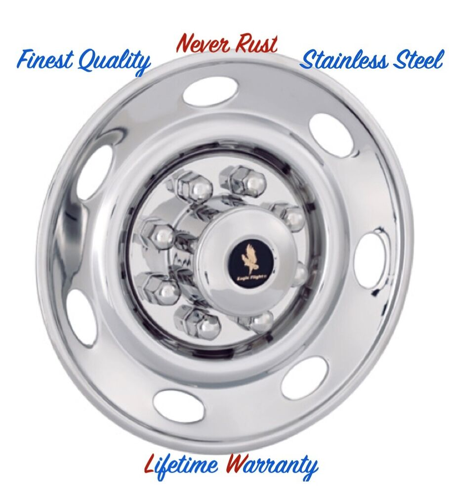 16 Quot Trailer Stainless Steel Wheel Cover Bolt On Hubcaps