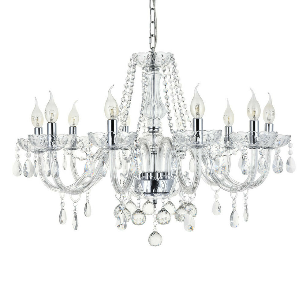 Crystal Chandelier Vs Glass: Marie Therese 10-Arms Glass Crystal Droplets Pendant Lamp