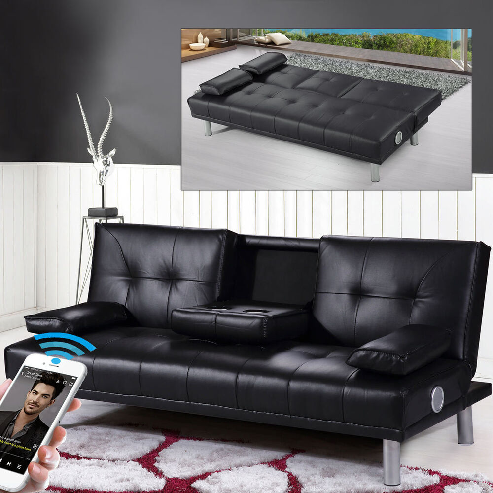 Modern Faux Leather Cinema Sofa Bed Wireless Bluetooth