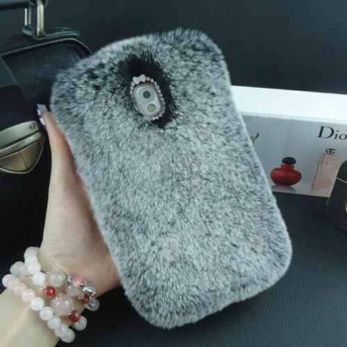 Bling Luxury Rabbit Fur Furry Hard Case Cover For Samsung